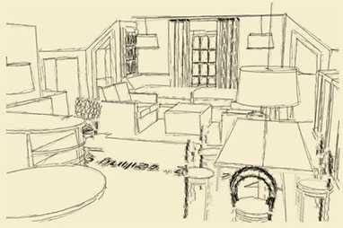 Sketch of Interiors Unleashed 3rdFloor Virginia Studio